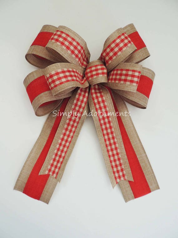 Vintage Red Check Valentine wreath bow Gingham Red Gift Bow Primitive Red Check Burlap Tree Bow Rustic Red Check Wreath Bow Door Hanger Bow