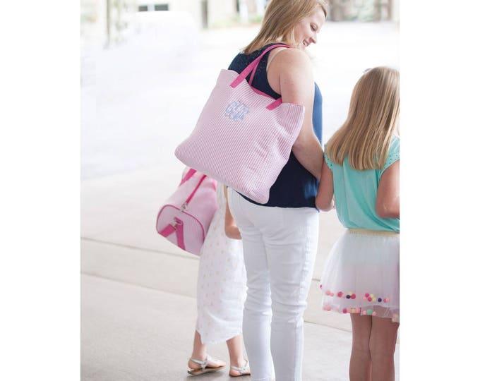 Pink Seersucker Tote Bag, Monogrammed Tote Bag, Flower Girl Gifts, Bridesmaid Gifts, Personalized Gifts, Personalized Tote Bag, Diaper Bag