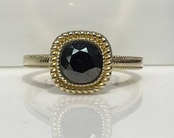 Handmade Black Diamond Ring in 14K Gold