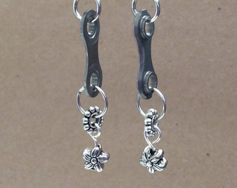 Bicycle Chain Link Earrings with Bike Chain Rollers and Daisy spacers. Recycled Cycling Jewelry