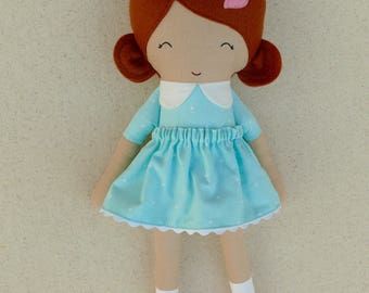 Fabric Doll Rag Doll Small 15 Inch Doll, Red Haired Girl in Aqua Polka Dotted Dress with Pink Shoes