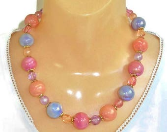 Multi Color Bead Necklace Pink Blue Purple Pastel Big Chunky Vintage Beaded Necklace