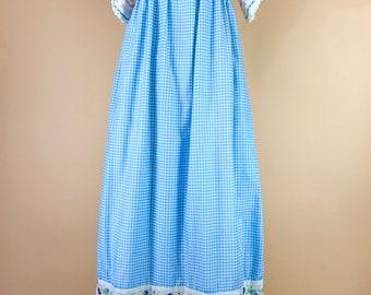 1970s angel sleeve prairie dress, vintage folk maxi dress, retro 70s empire waist dress, Gidding Jenny peasant dress, boho maxi dress