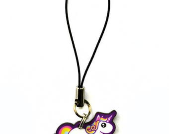 Chubby Unicorn Cell Phone Charm, Kawaii Rainbow Fat Pony Cell Strap