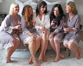 COTTON LACE ROBES - Gray Lace Robes - Lace Bridesmaid Robe - Bridesmaid Gift - Lace Wedding Robes - Bridal Party Robes - Lace Kimono Robe