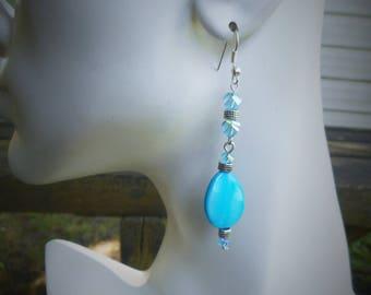 Turquoise earrings, blue earrings, teardrop earrings, mother of pearl earrings, boho earrings, long earrings, sexy earrings, blue earring