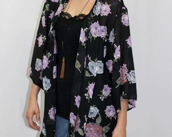 Sheer Floral Free Size Kimono Jacket, Holiday Kimono, Plus Size Kimono