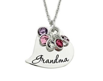 Personalized Grandma Heart Necklace - Engraved Jewelry -  Personalized Jewelry - Gift for Grandma - Birthstone - Mother Jewelry - 1196