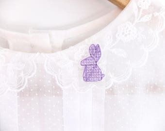 Origami rabbit cross stitched collar pin, origami pin, gifts for her, gifts under 30, easter bunny, purple bunny, gifts for bunny lovers