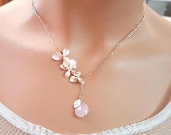 Blush Pink ROSE GOLD Necklace, Flower Earrings, Clear, Champagne, Peach, Sapphire Navy, Orchid earrings, Wedding Bridesmaids Gift