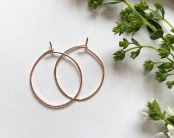 NEW Lightly hammered rose gold hoop earrings - minimalist earrings, simple rose gold hoops, big hoop earrings, rose gold hoops