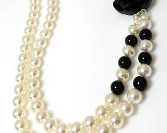 multistrand white Swarovski pearl black pearl necklace with black flower asymmetrical floral necklace double strand beaded jewelry