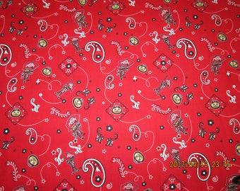 "OHIO STATE "" BUCKEYES "" Paisley  Design- 1 Yard  Piece - 100% Cotton  Brand New Design"
