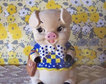 Vintage Cute Hand Painted Large Piggy Bank