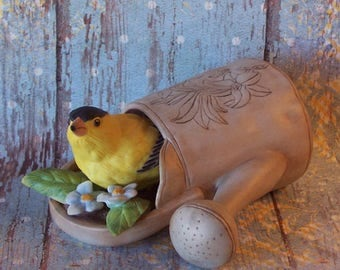 Home Sweet Home Fine Porcelain American Goldfinch in water can Figurine