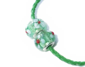 BOGOF Glass Large Hole Beads, European Lampwork Bead, European Charms for Bracelets and Necklaces, Spring Green with Raised White Flowers