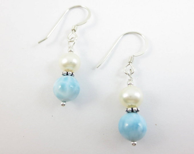 6 mm Fresh Water Pearls Stacked on 7 mm Larimar Dangle Earrings on Sterling Silver or 14k Gold Fill