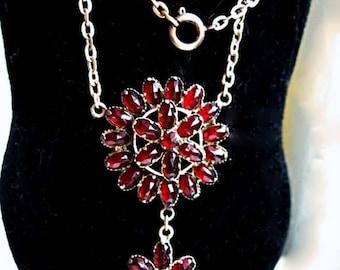 Czech Garnet Glass Necklace, Petite Circle Pendant, Flower Drop, Oval Deep Red Faceted Stones, Prongset in Brass