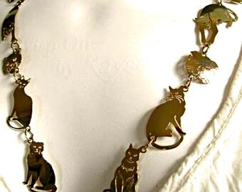 Cat Kitty Golden Necklace, Wild Bryde Goldtone Metal Links Mixed Felines, Cutwork Pierced Figural Images, 24 Inch