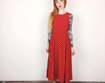 90's Vintage Red and White Polka Dot Corset Lace Up Maxi Summer Dress // Women's size Medium M
