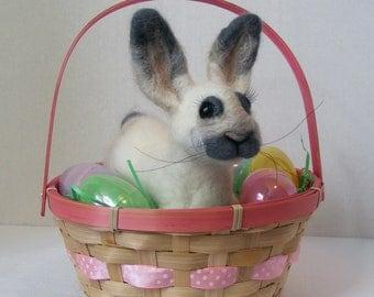Felted Bunny Easter Bunny Felted Animal Soft sculpture Rabbit  Art Doll Bunny Plush
