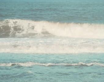 Beach Photography, Aqua, Turquoise, Ocean Photograph, Coastal Home Decor, Ocean Waves, Seagull, Sailboat, Teal, Jersey Shore Photograph