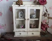 Vintage Spice Cabinet Rack Glass Door Wood - upcycled -  Old White distressed - Farmhouse decor