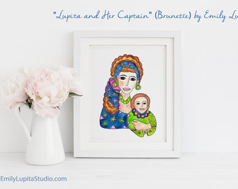 "Original Painting ""Lupita & Her Captain"" (Brunette) / Watercolor Portrait Mother and Son / Mother's Day Gift Christmas Gift / Artwork"