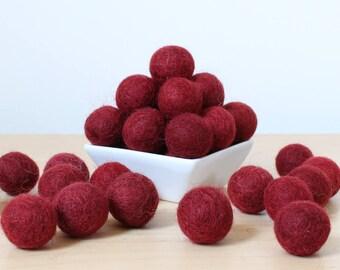 Felt Balls: BURGUNDY, Felted Balls, DIY Garland Kit, Wool Felt Balls, Felt Pom Pom, Handmade Felt Balls, Red Felt Balls, Red Pom Poms