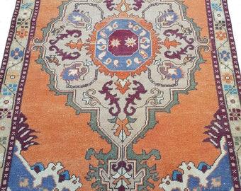 4 by 8 rug / Vintage Oushak Rug / Vintage Rug / Oushak Rug / Turkish Vintage Rug / Oushak Rug / Area Rug / Boho Rug / Low Pile Rug