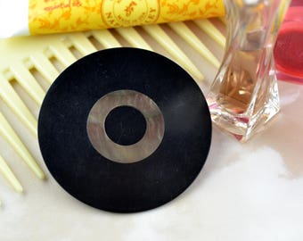 Black with Mother of Pearl - Large Circular Vintage Bakelite - Button Brooch - Upcycled - Repurposed - Sustainable - Eco Friendly Jewellery