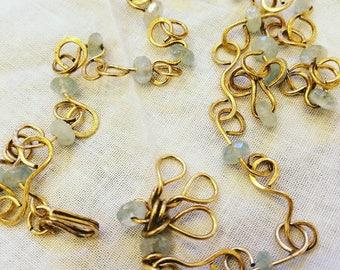 Gold patina'd necklace with Aquamarine beading