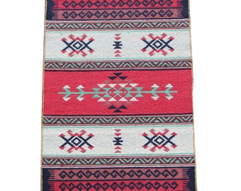 Small Kilim Rug - New Reversible Small Turkish Kilim Rug or Mat in Red, Green and Cream - 96cm x 60cm