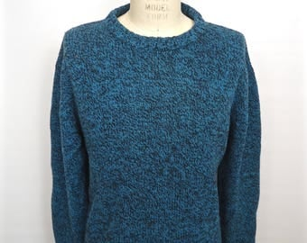 Woolrich  Turquoise & Black Sweater / vintage blue wool crew neck pullover / men's extra large xl
