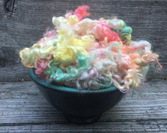 Dyed Teeswater Lamb Fleece, Wool, 2 ounces, Spin, Felt, Doll Hair, Sweet Rainbow