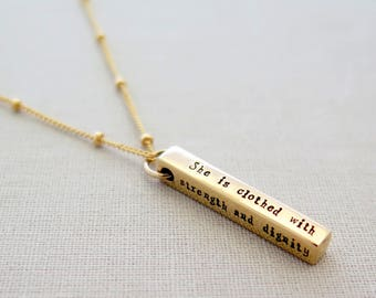 Christian Jewelry, Strength And Dignity Necklace, Bible Verse Necklace, Proverbs 31 25, Scripture Jewelry, Religious Gift, Baptism Gift