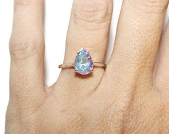 Mercury Mist Topaz Ring, Anniversary Ring, Sterling Silver Ring With Stone, Pear Shape Ring