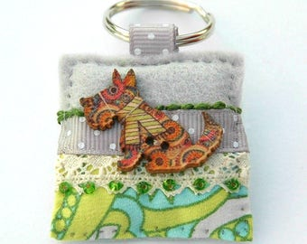 terrier dog keyring, little dog gifts, colourful dog keyring, pretty dog accessories, fox terrier key ring, westie gifts, scottie gifts, UK