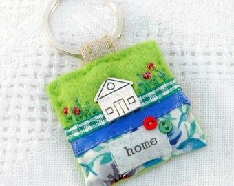 new home keyring, housewarming gift first home, new apartment gift, first home gift, home owner gift, house keyring, hand sewn UK gifts