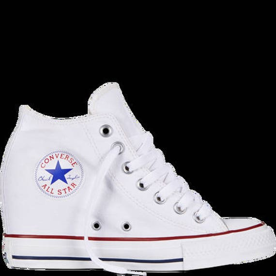 Custom White Converse High Top Rise Lux Wedge Heel US 9 Canvas w/ Swarovski Rhinestone Crystal Chuck Taylor All Star Trainer Sneakers Shoes