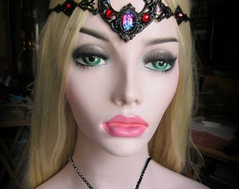 Red and Black Wedding Headdress, Dragons Breath Opal Circlet, Glass Opal, Black Crescent Circlet, Gothic Renaissance, Made to Order