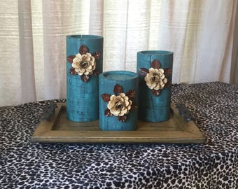 Wooden Candleholders (set of 3)  Aqua Glaze with Cream Flowers