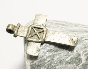 Rustic Ethiopian Coptic Cross Pendant, African Religious Pendant (AL92)