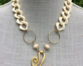 """Antique sewing XXL, Gold Medallion necklace and big chain plastic """"Delphi"""""""
