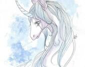 The Last Unicorn watercolor painting OOAK Fantasy art print