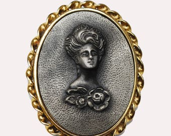 Raised Metal Cameo Brooch - Pewter rasied womenprofile - Gold metal - repousse grey metal Pin