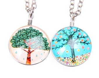 Set of 2 Necklaces tree Double sided cabochon