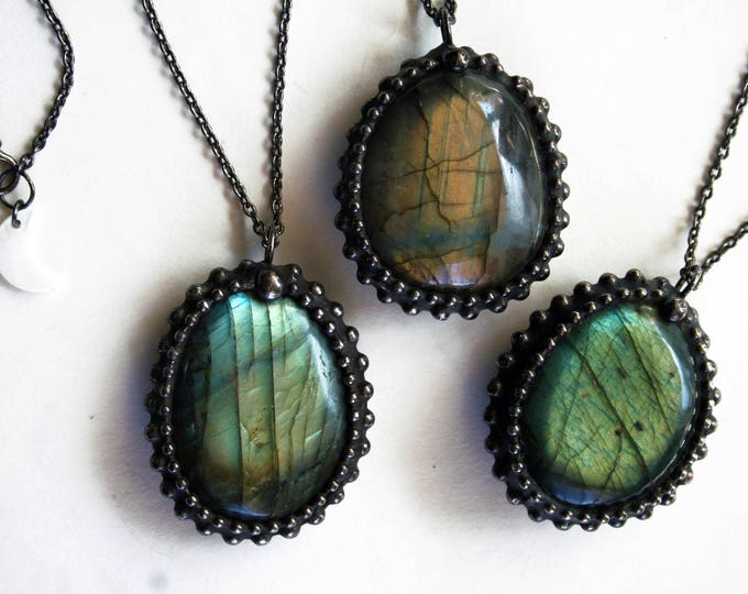 Small Tumbled Labradorite Stone Necklace
