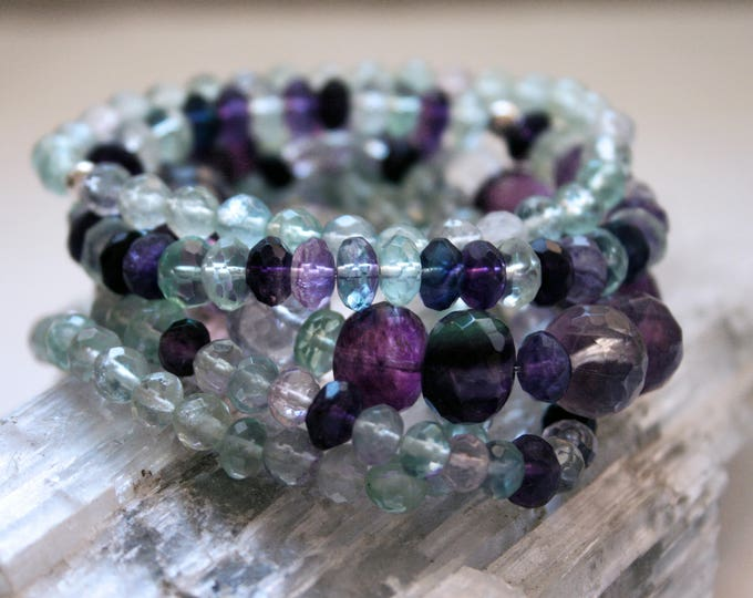 Rainbow Fluorite Beaded Crystal Stacking Bracelet Set of 5