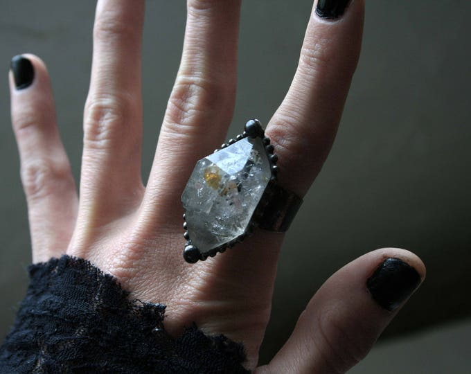 Large Double Terminated Tibetan Quartz Crystal Ring